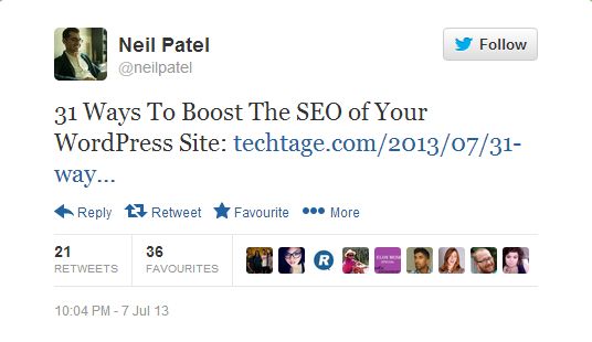 Neil Patel's Tweet about a TechTage Post
